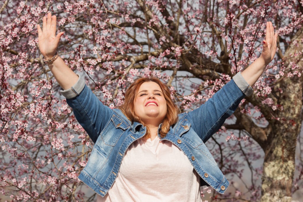 Grateful woman celebrating Spring