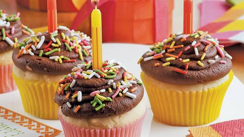 Cupcakes with a candle